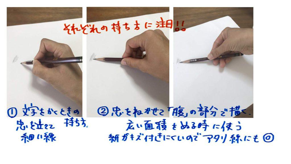 デッサン鉛筆の持ち方と使い方
