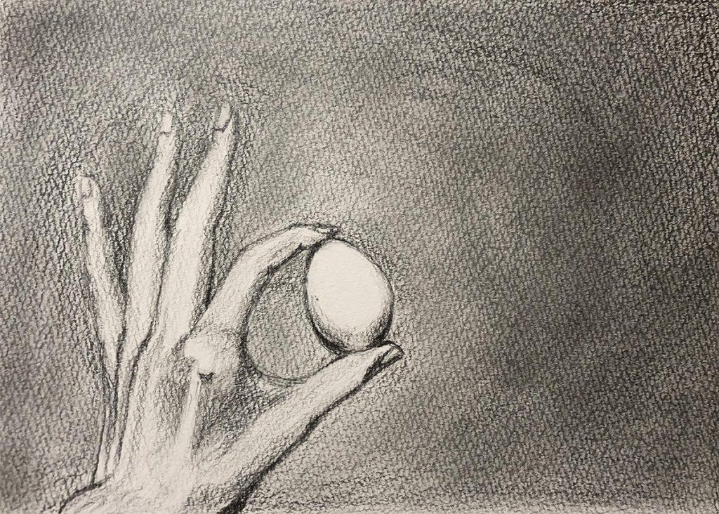 手と卵のデッサン