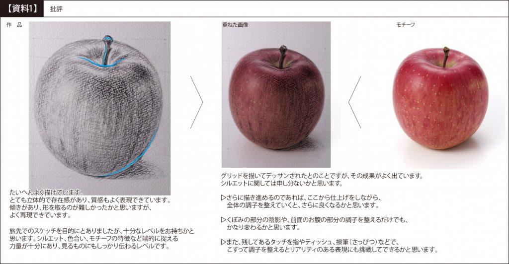 【ピリカアートスクール】リンゴのデッサン 添削アドバイス