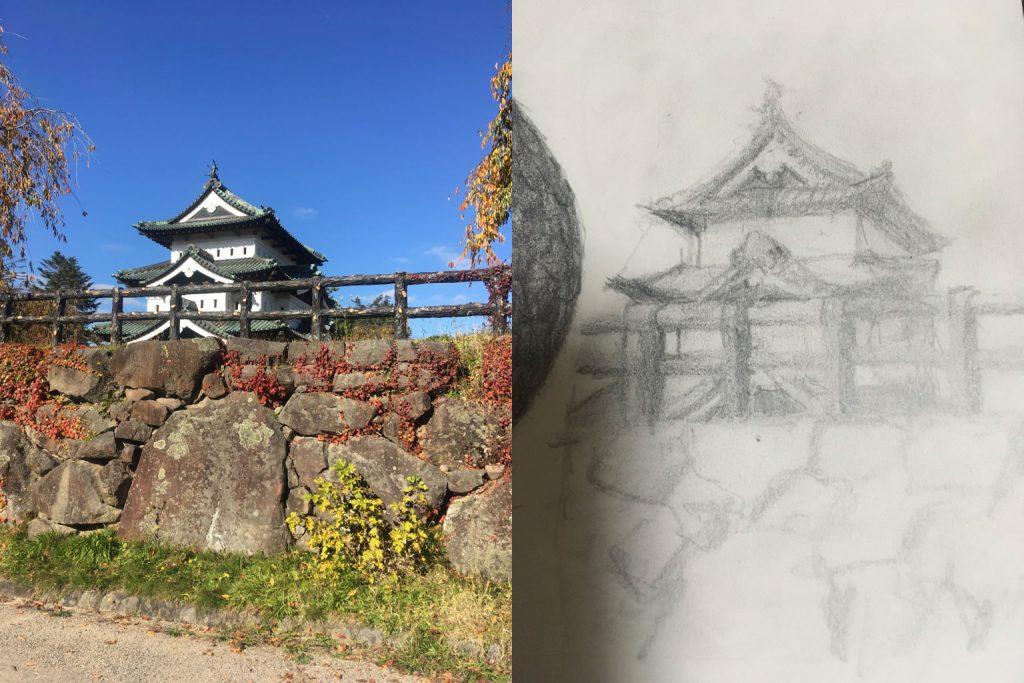 【ピリカアートスクール】お城のデッサン 添削アドバイス
