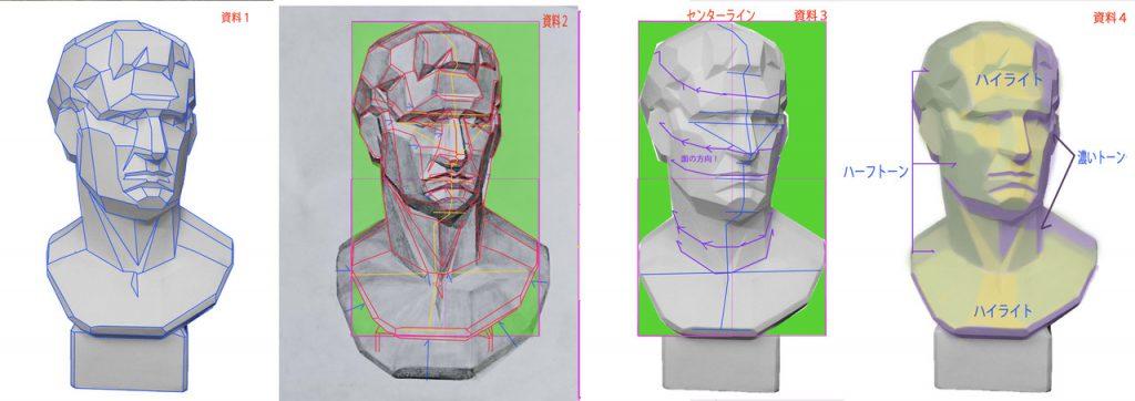 【ピリカアートスクール】アグリッパの石膏像のデッサン 添削アドバイス