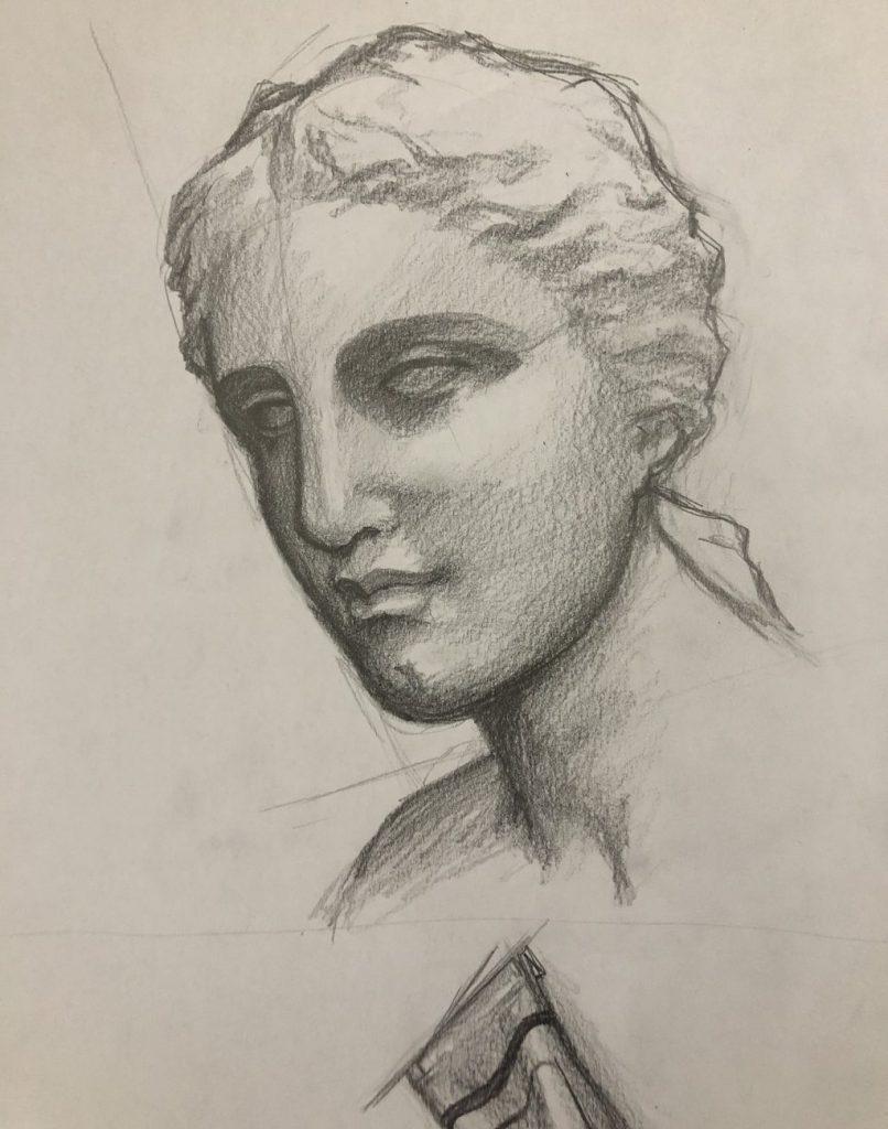 【ピリカアートスクール】石膏像のデッサン 添削アドバイス